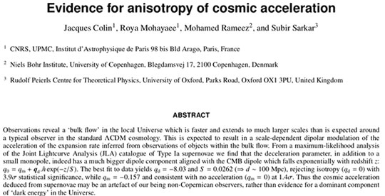Evidence for Anisotropy of cosmic expansion (Source: J. Colon, et al, arXiv:1808.04597v3)
