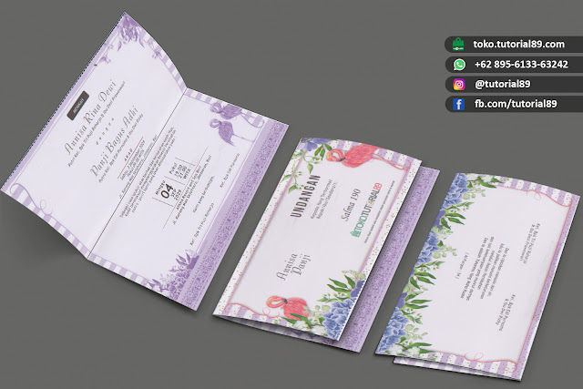 Undangan pernikahan 89.S190 - Seimpel Lipat 2 +free stiker label undangan