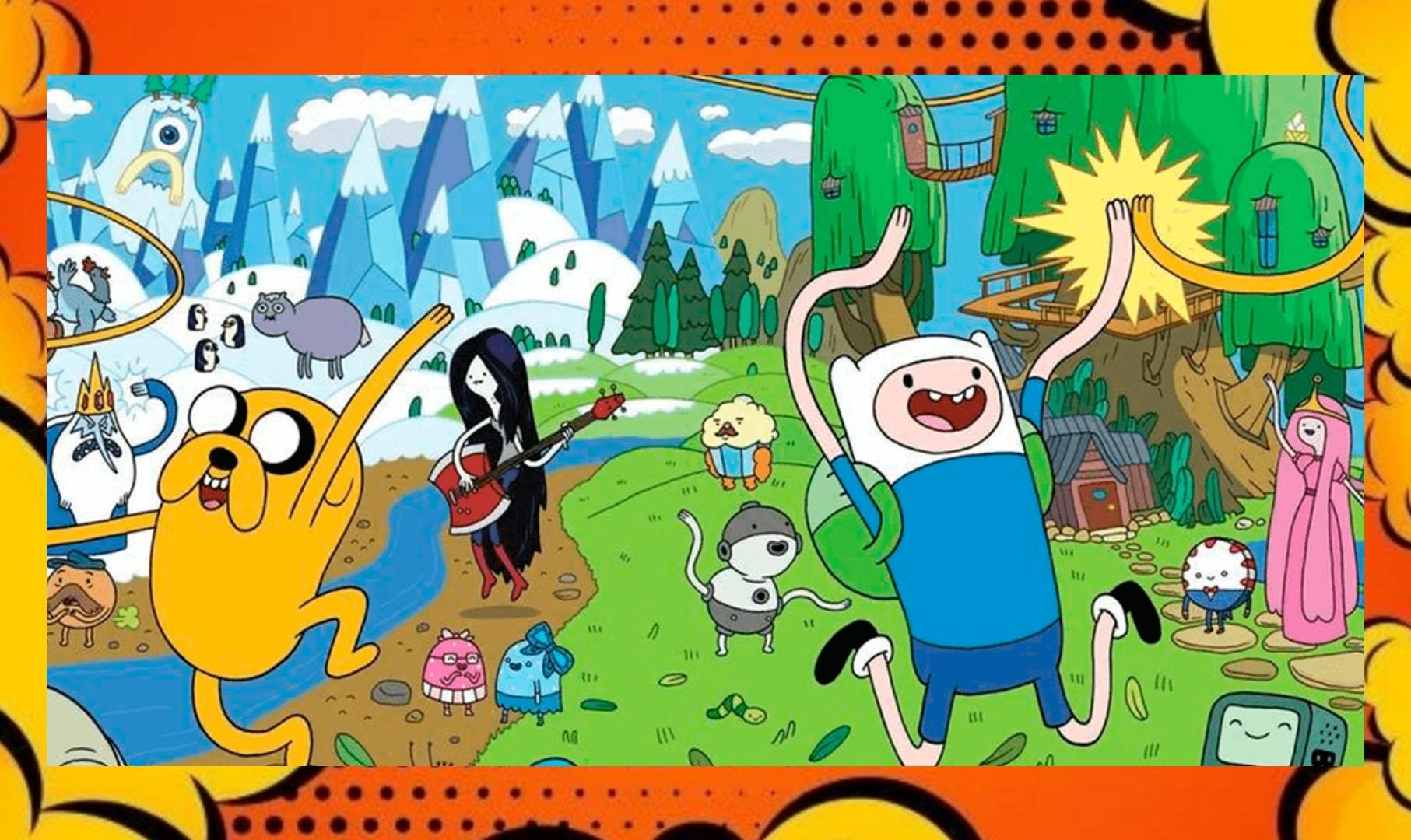 A imagem tem uma borda laranja, e no centro uma cena onde aparece os personagens principais da animação correndo aleatoriamente com os braços erguidos.