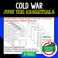 Cold War, American History Outline Notes, American History Test Prep, American History Test Review, American History Study Guide, American History Summer School, American History Unit Reviews, American History Interactive Notebook Inserts
