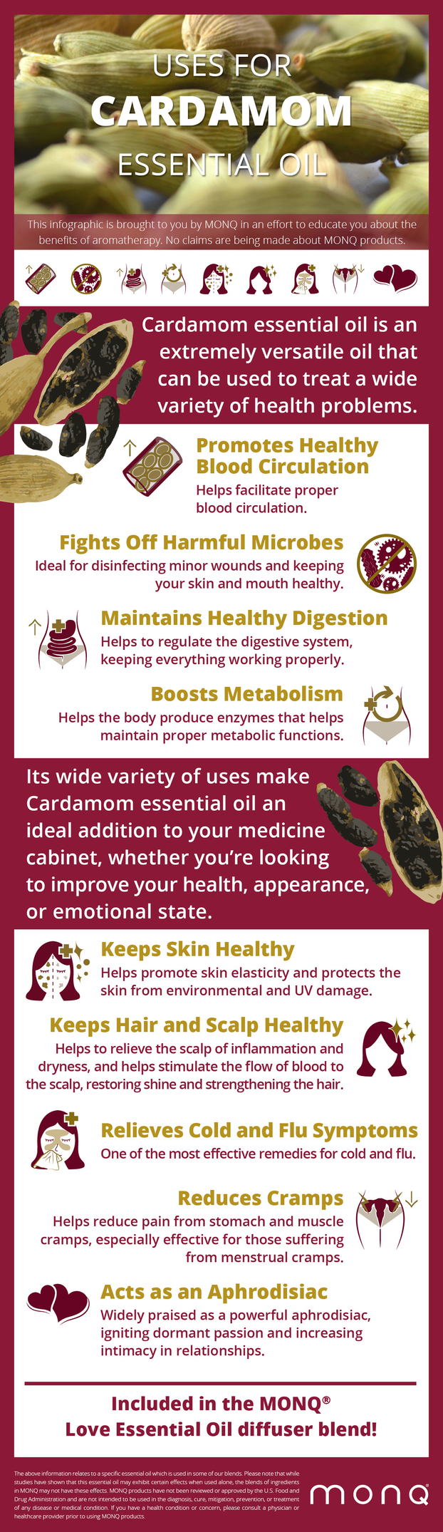 Uses for Cardamom Essential Oil #infographic #Cardamom #infographics #Cardamom Essential Oil #Oil #Health