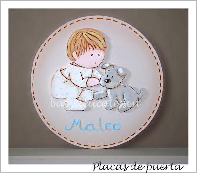 placa de puerta infantil niño con Schnauzer nombre Mateo babydelicatessen