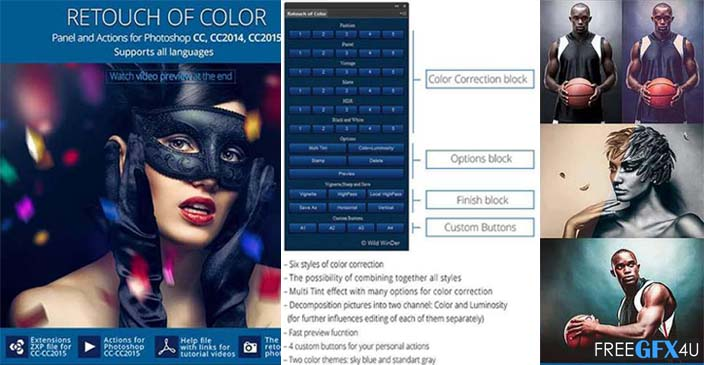 Retouch Photo Colors Photoshop Panel and Action