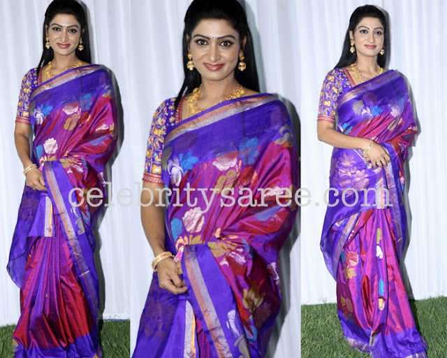 Pretty Lady Purple Pink Uppada Sari Elbow Blouse
