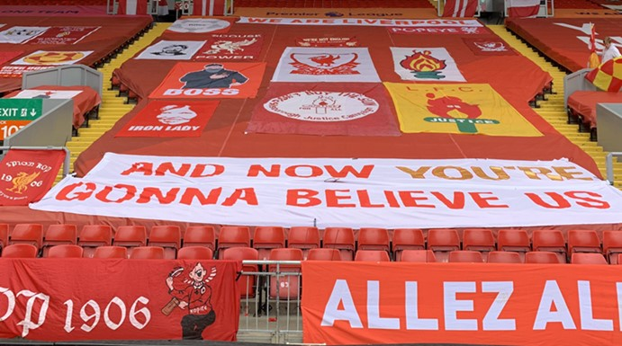 The Kop decorated for our first match at Anfield after Coronavirus restart