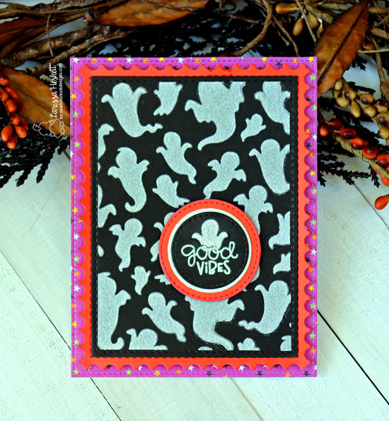 Newton's Nook Designs & Therm O Web Inspiration Week - Ghost Halloween card by Larissa Heskett | Ghosts Stencil by Newton's Nook Designs | Flock Transer Sheets by Therm O Web #newtonsnook #thermoweb