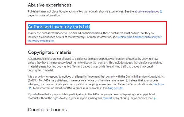 AdSense Program Policies Deep Dive - Authorised inventory (ads.txt)