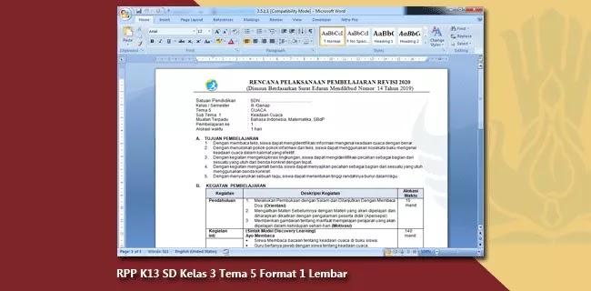 RPP K13 SD Kelas 3 Tema 5 Format 1 Lembar