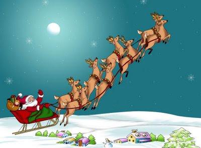 Dibujo de Papa Noel o Santa Clauss partiendo con su trineo para repartir regalos