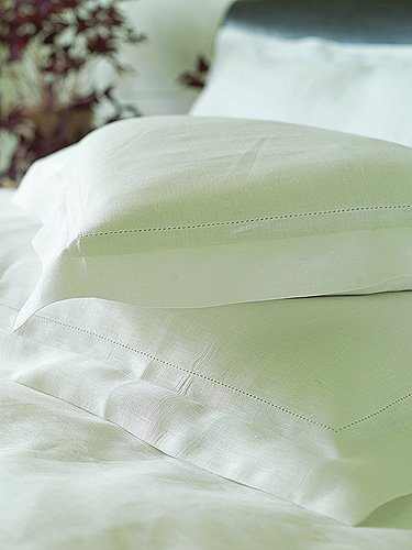White Linen Pillowcase with Hemstitching: A simple and luxurious pillow case in optical white, made of highest quality pure linen fabric and adorned with hemstitched details.  http://www.linenandlavender.net/p/blog-page_3.html