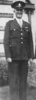 Inspector Horace Jaikens  during World War 2 - standing outside  the Ramsey Police Station.  (Photo copyright Martyn Smith)  (Used with permission)