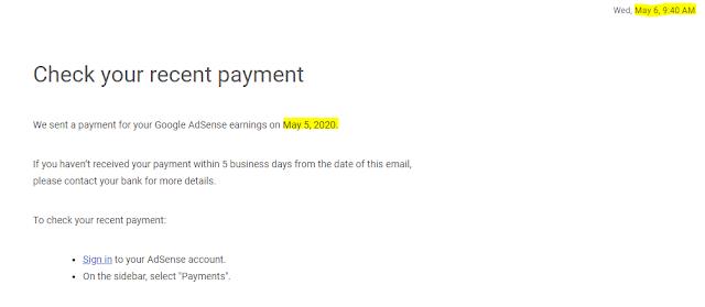 Google Adsense Email - May 2020