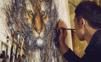Pintura con salpicaduras contemporanea de león
