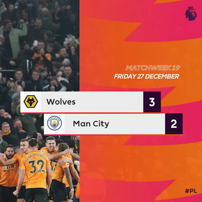 Pep Guardiola City falls again as goalkeeper Ederson got sent off early in the match which saw Wolves come from behind to win 3-2 despite Raheem Sterling brace.