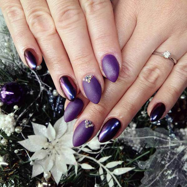 Purple gel ,western nail art ,designs