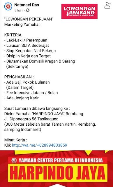 Lowongan Kerja Marketing Yamaha Harpindo Jaya Rembang