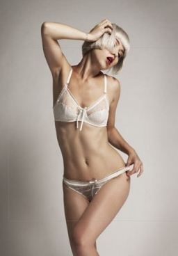fca77b77d1 Modern Courtesan Silk and French Chantilly lace bra and brief set