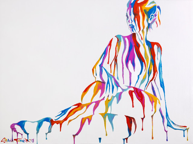 Image of a colorful/rainbow dripping paint on an invisible reclining woman. Surreal pop painting by Shane Turner.