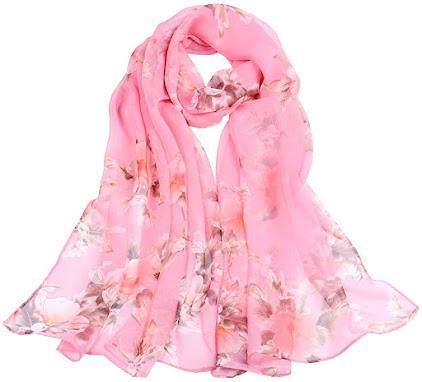 Floral Print Pink Chiffon Scarves Shawls