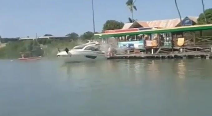 Vídeo: Explosão em lancha deixa cinco feridos em marina de Maria Farinha