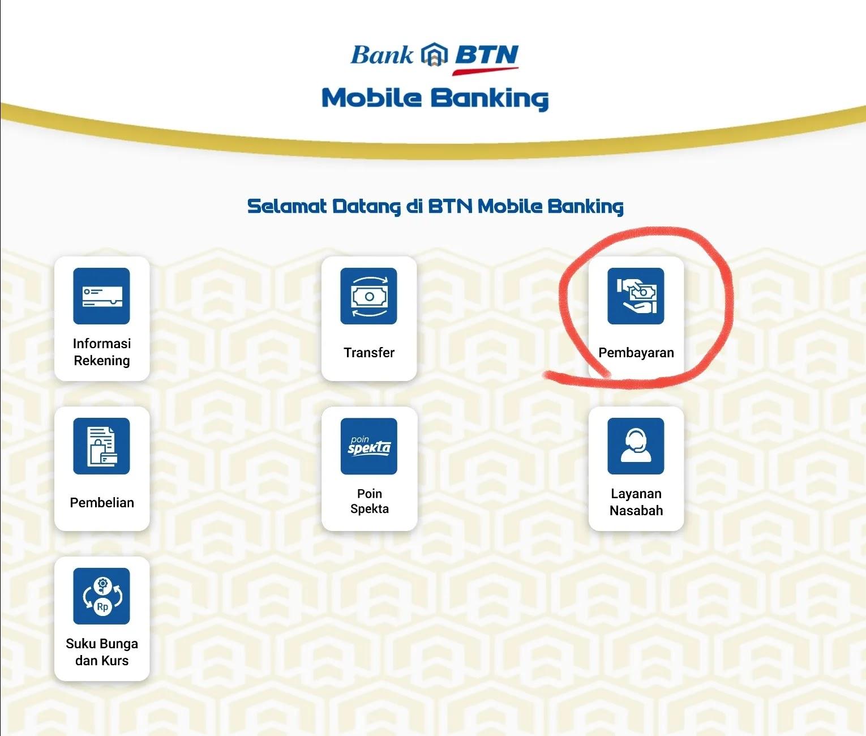 langkah pembayaran air bersih via btn mobile1