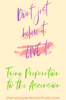 "Purple letters ""Don't just believe it, live it"" on a peach background. green letters below that ""Tying Preparation to the Ascension"""