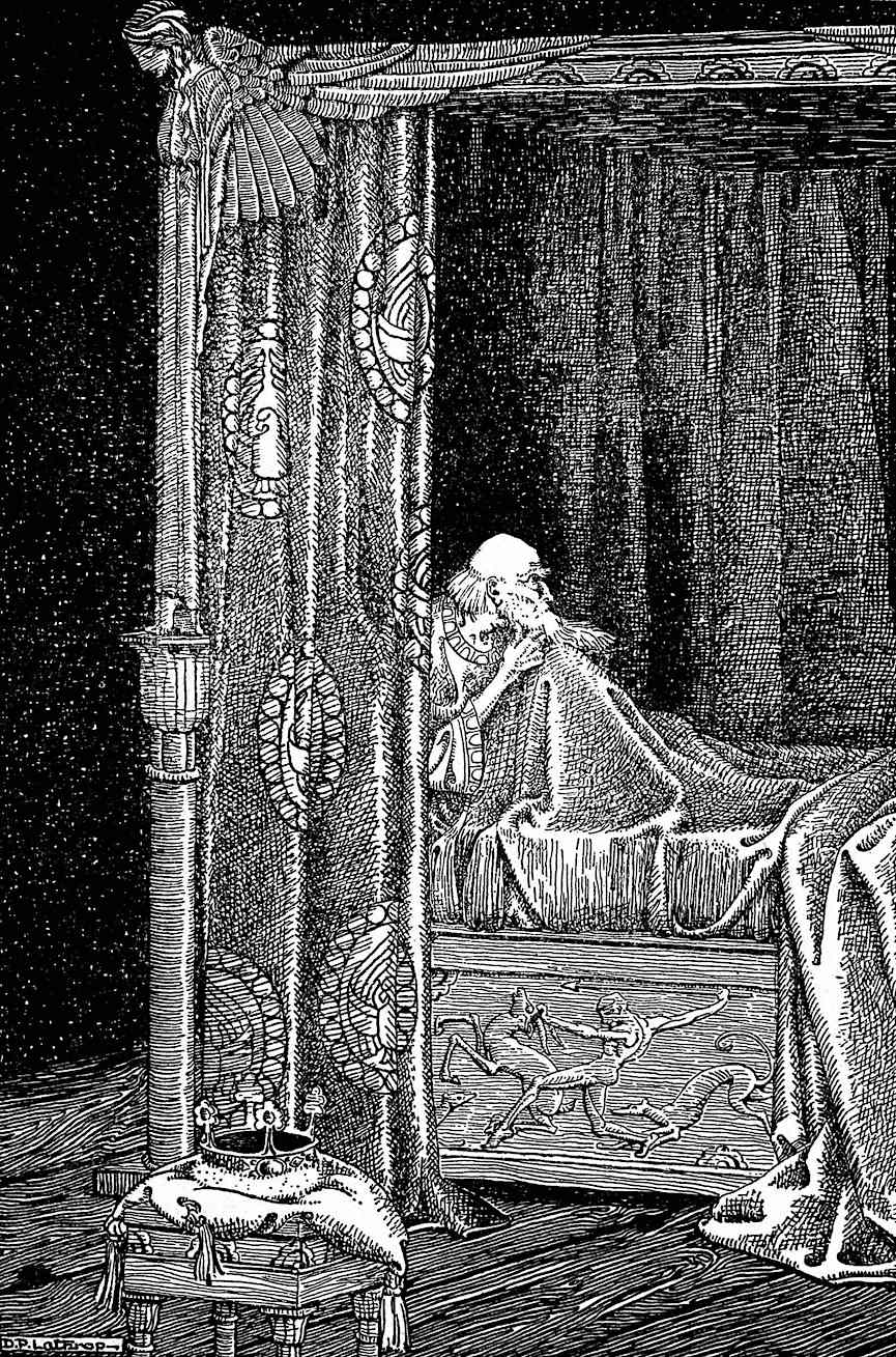 a Dorothy P. Lathrop illustration of an old king in bed