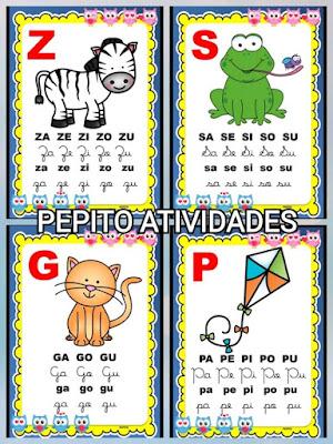 Silabário colorido sílabas simples em PDF para imprimir tema corujinhas