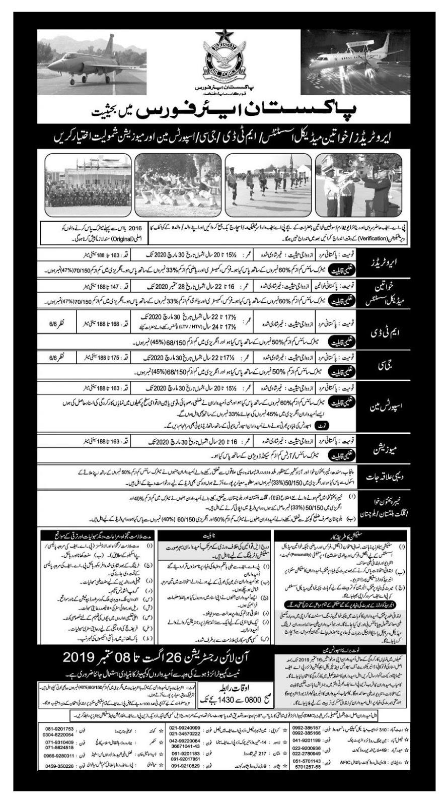 Pakistan air force jobs 26 Auguest 2019