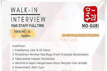 Lowongan Kerja F&B Staff Full Time MO-GURI Bandung