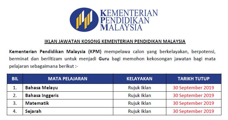 Pengambilan Jawatan Guru 2019 Di Kementerian Pendidikan Malaysia Kpm Ejawatankini Com