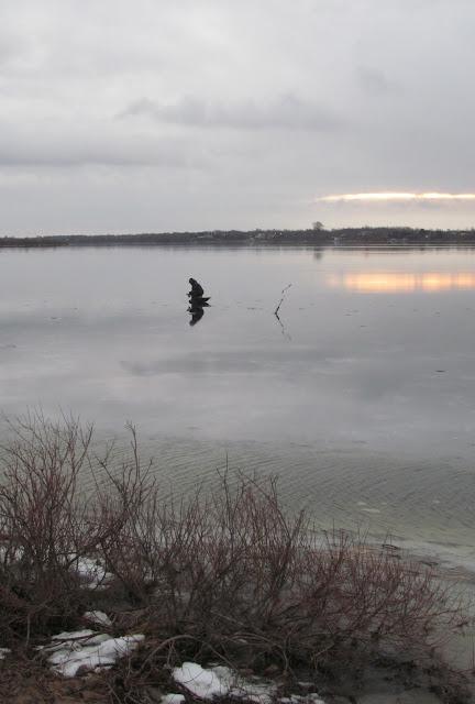 Рыбак на гладком льду
