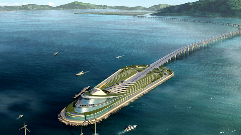 HZMB is one of the world's largest infrastructure projects - the bridge has become the longest bridge over the sea, the total length of its main part is 29.5 km, including a 22.9 km of the bridge itself and 6.7 km of a double six-way underwater tunnel connected artificial islands.