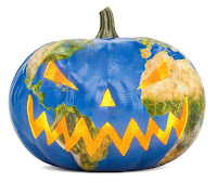 Planet Earth Painted on a Pumpkin