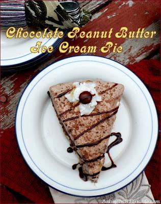 Chocolate Peanut Butter Ice Cream Pie, an easy to assemble family favorite summertime dessert. | Recipe developed by www.BakingInATornado.com | #recipe #dessert