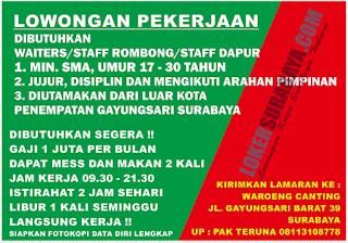 Lowongan Pekerjaan di Waroeng Canting Surabaya Terbaru Juni 2019