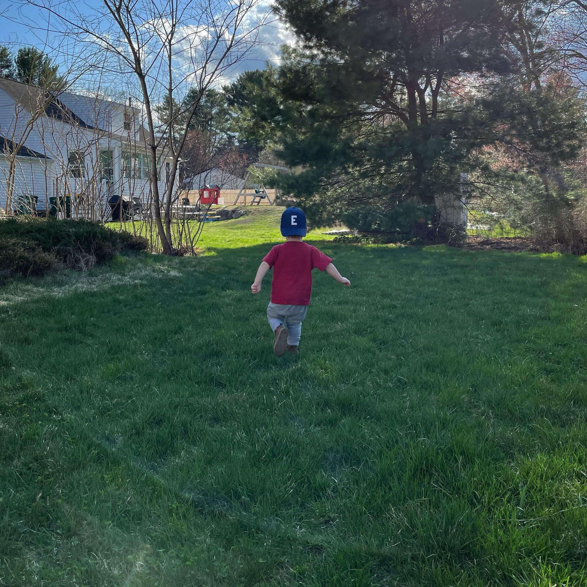 toddler running outside