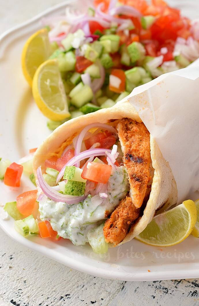 close up og the homemade chicken gyros with grilled chicken