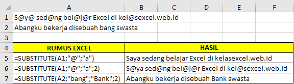 Contoh Fungsi SUBSTITUTE Microsoft Excel