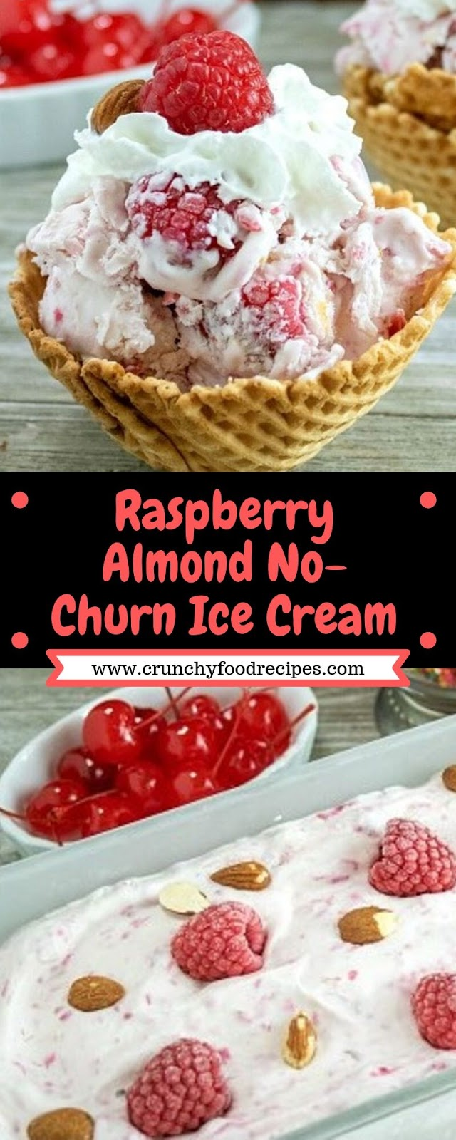 Raspberry Almond No-Churn Ice Cream