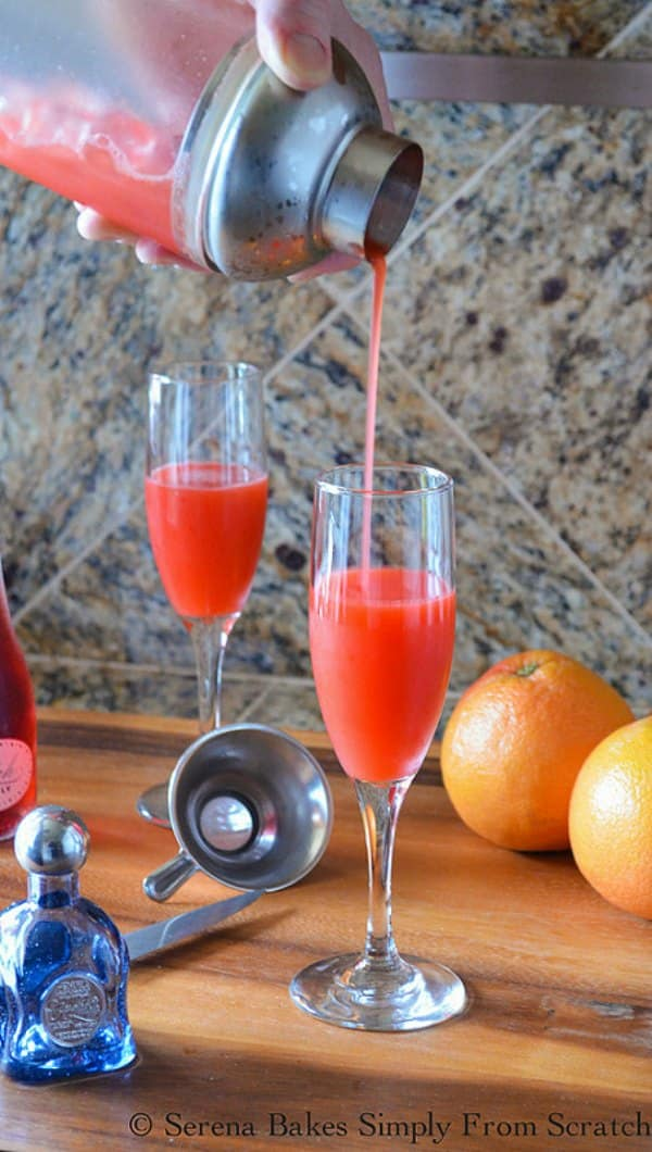 Fill champagne glasses half way with Strawberry Grapefruit Juice to make Strawberry Grapefruit Mimosas.