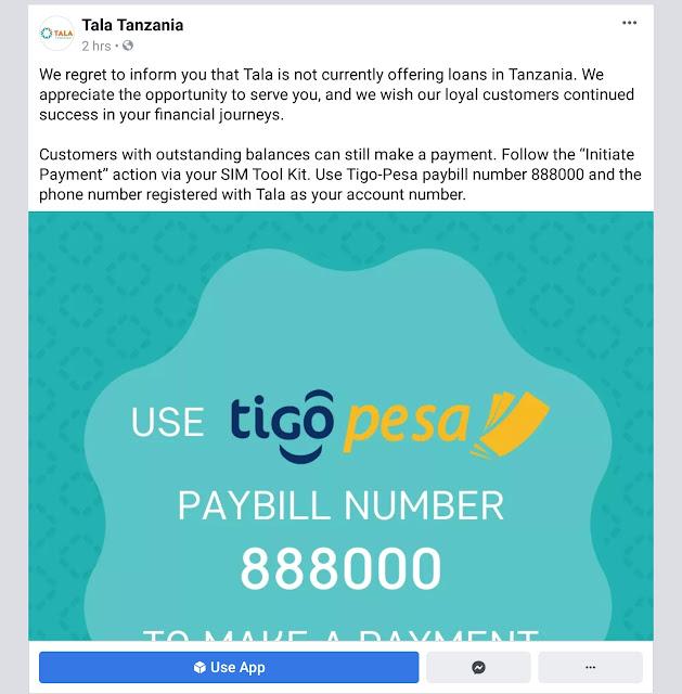 Tala closes Tanzania services