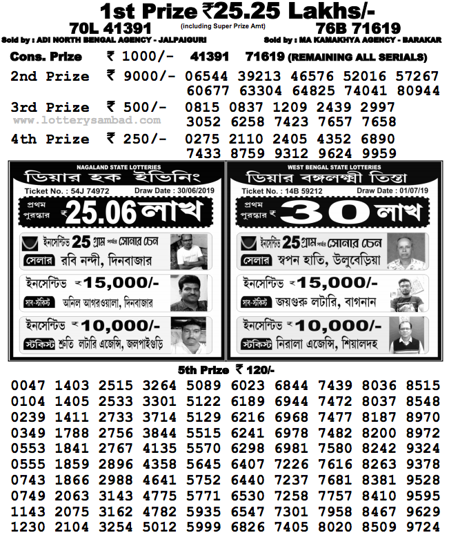 Nagaland Lottery Result : 01-07-2019: DEAR FLAMINGO EVENING