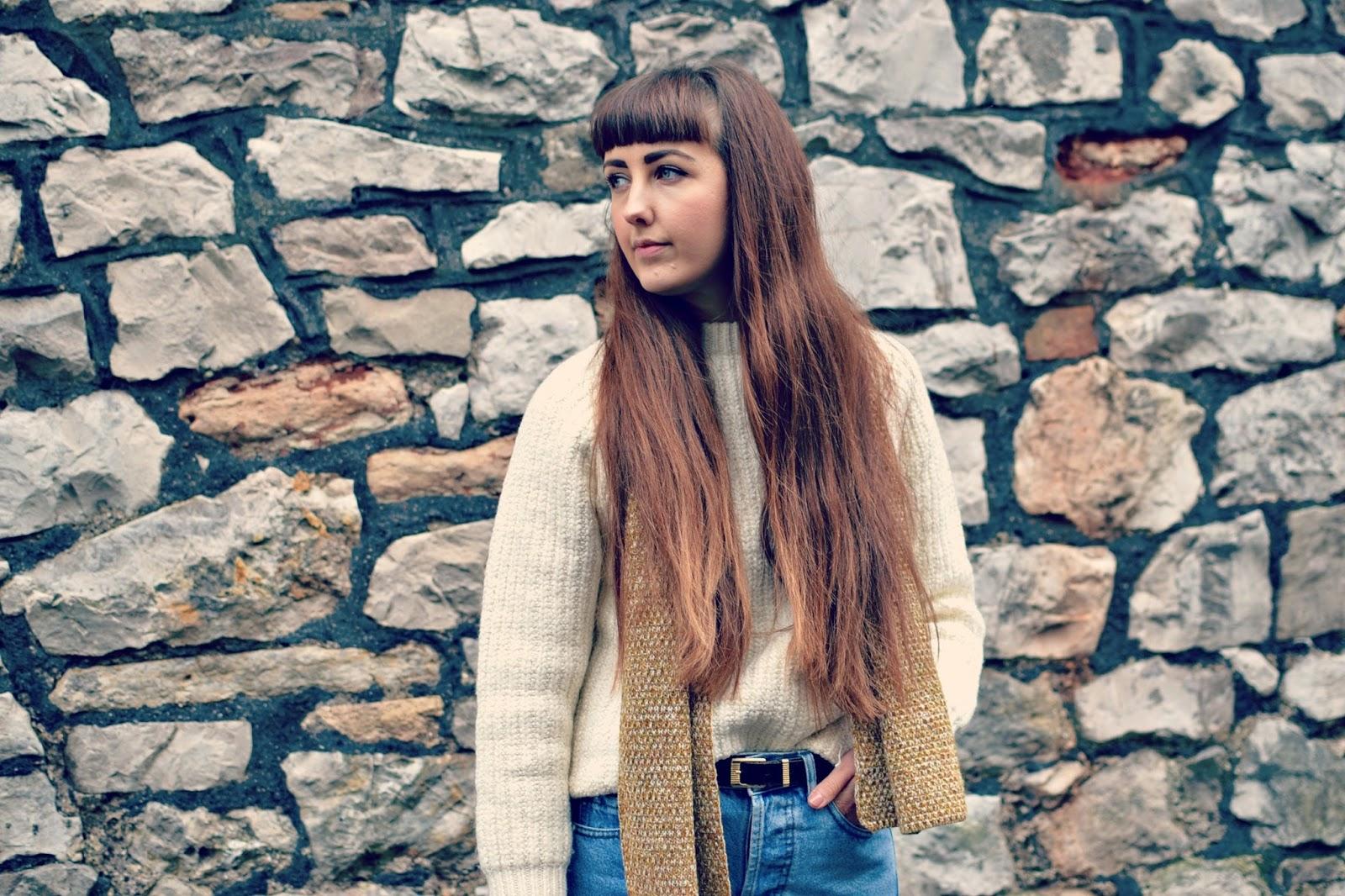 charity shop jumper, vintage levi jeans, asos scarf