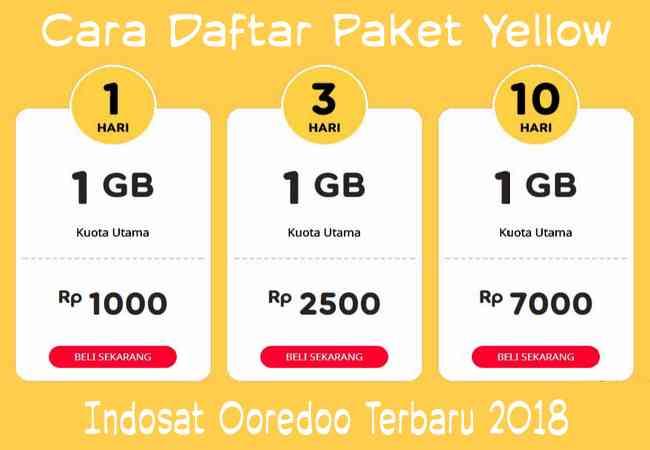 Cara Daftar / Beli Paket Yellow Indosat 1GB Rp2000 Terbaru 2019 Terbaru