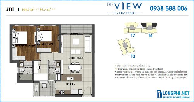 Bán căn hộ 2PN The View tháp 6 tầng trung, view sông Sài Gòn, nhà hoàn thiện.