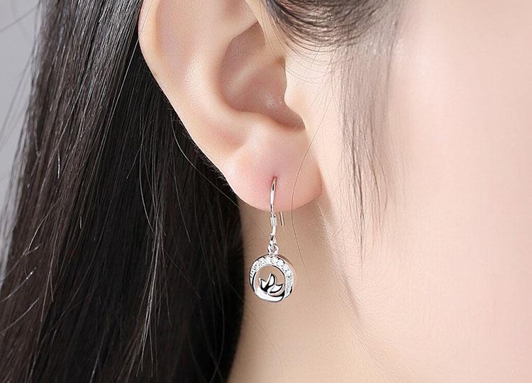 三葉鍍銀耳環