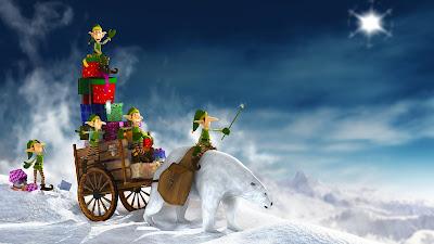 Kerst wallpaper met arrenslee en ijsbeer