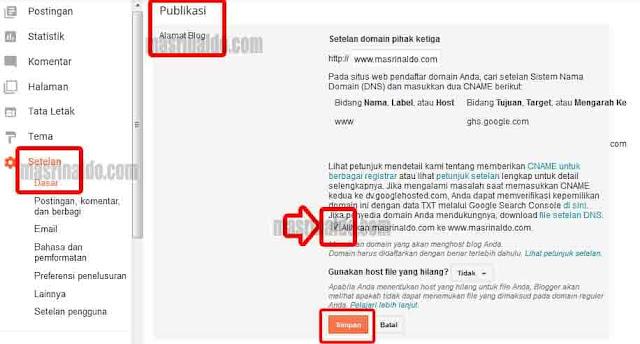 Cara Memperbaiki Custom Domain Blogger Tidak Bisa di Buka Tanpa WWW 2