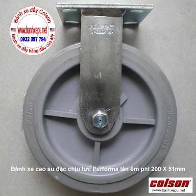 Bánh xe cao su đặc Colson càng cố định phi 200 chịu lực | 4-8198-459 www.banhxeday.xyz
